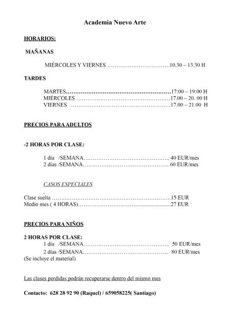 tarifas horarios clases 2015