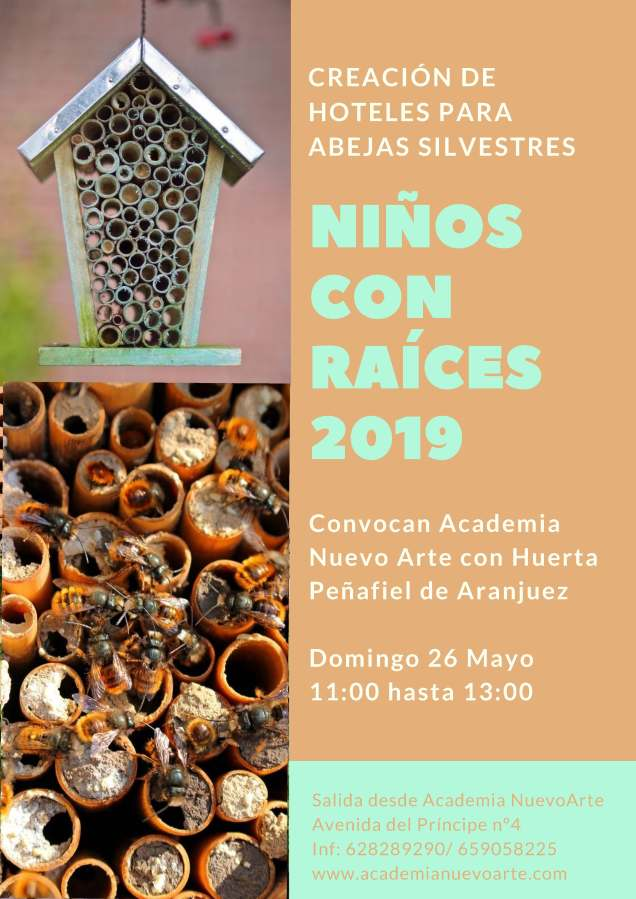 Jornada festiva ¡creamos hoteles para abejas silvestres!  Con la colaboración de la huerta Peñafiel deAranjuez